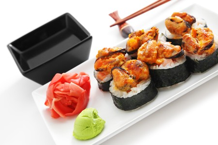 Sushi on a white plate photo