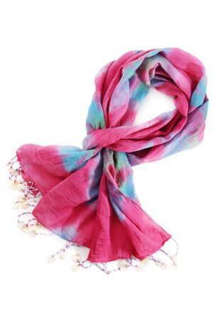 Pink scarf isolated on white photo