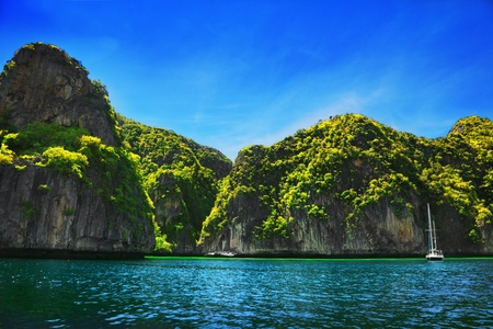 Rock formation and sea, Thailand photo