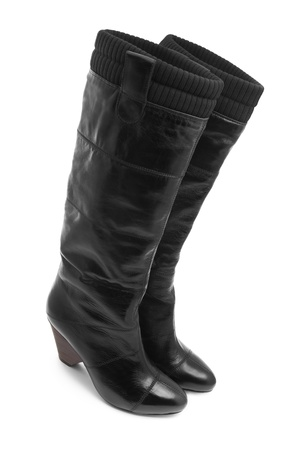 Black boots isolated on white Stock Photo - 9350847