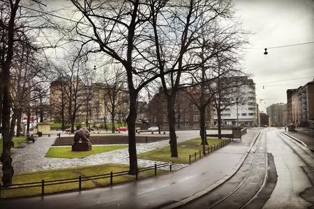 View of city street in Helsinki photo