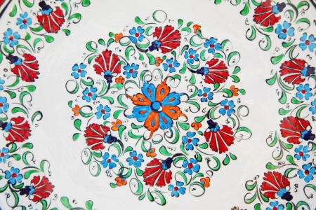 Hand painted dish details of flowers photo