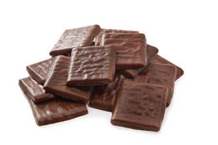 Blocks of chocolate isolated on white background Stock Photo - 9940358