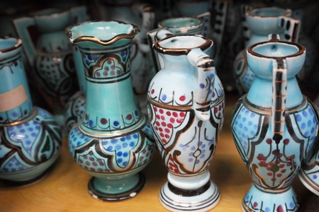 Pottery handicrafts in the shop photo