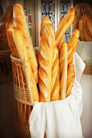 Closeup of some French baguette bread photo