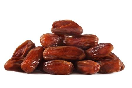 dattes: Date de fruits sur fond blanc