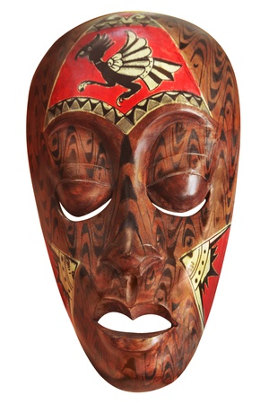 african art: African mask isolated on white