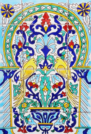 Tiled background with oriental ornaments photo