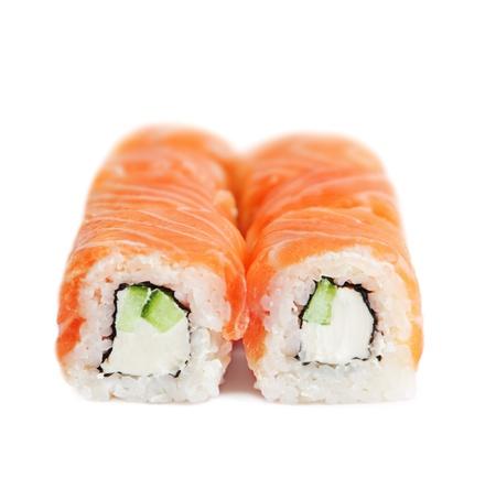 Salmon sushi on white background photo