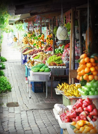 exotic fruits: Fruit market Stock Photo