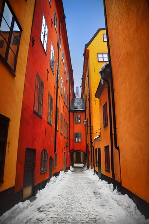 Narrow street in Gamla Stan, Stockholm photo