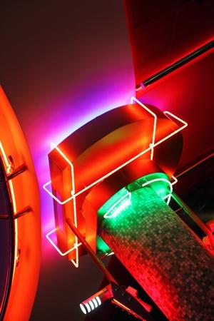 Neon lights hall of cinema photo