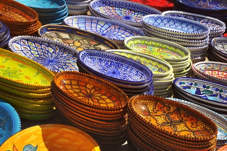Earthenware in the market, Tunisia Stock Photo