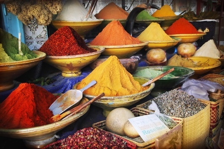 Spices for sale at the bazaar Stock Photo