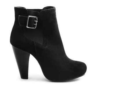 Black boot on white background photo