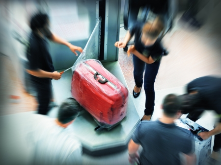 Baggage wrapping in the airport