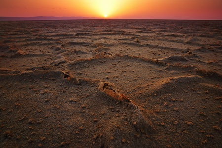 Sunrise at Chott El Jerid, desert dry salt lake in Sahara photo