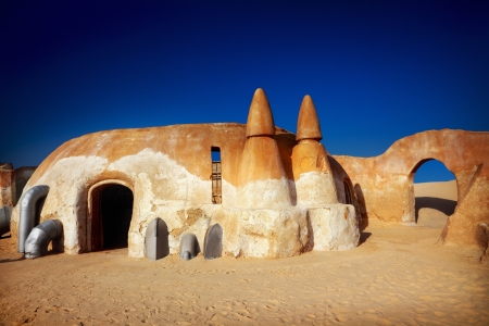cave house: Star wars decoration in Sahara desert, Tunisia Stock Photo