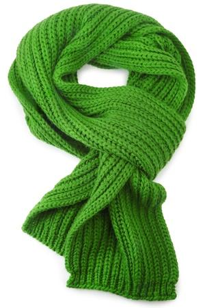 tejido de lana: Lana bufanda sobre fondo blanco