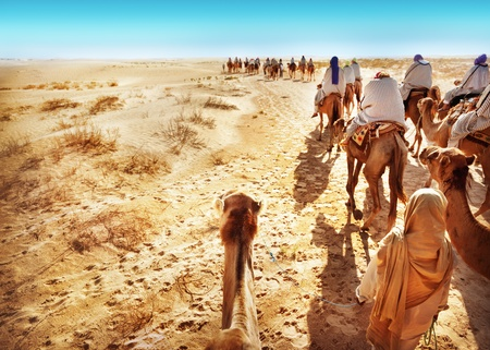 People in the Sahara desert photo