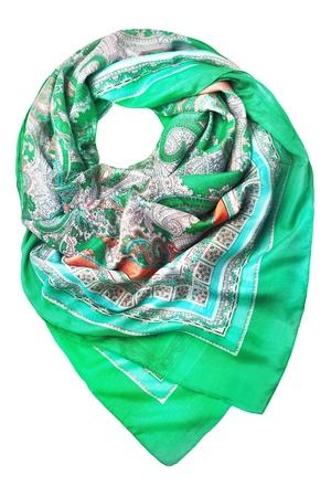 Silk scarf on white background photo