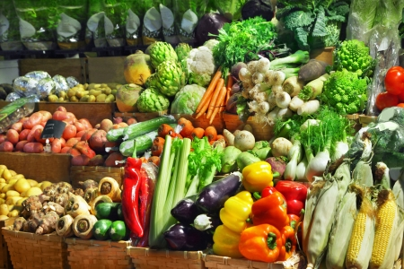 farmers market: Vegetables at a market stall