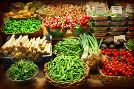 Vegetables at a market stall photo