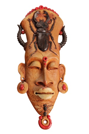 wood figurine: African mask isolated on white