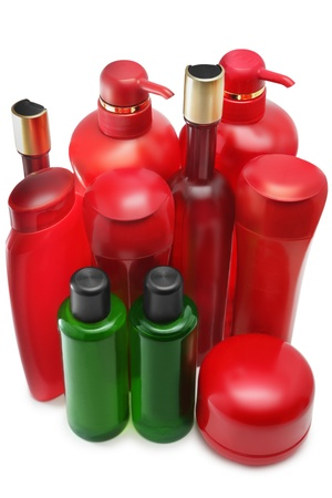 Shampoo bottles on white background photo