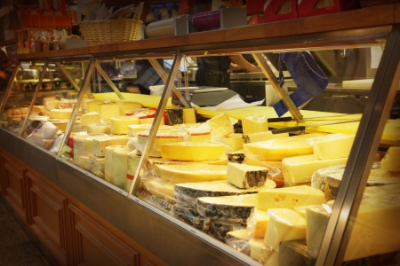 health food store: Different cheese in a shop
