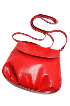 red purse: Red handbag on white background