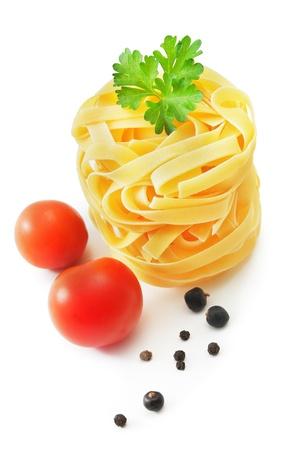 pasta salad: Raw pasta nest on white background