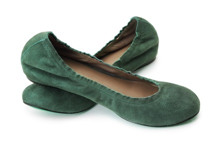 Green shoes on white background photo