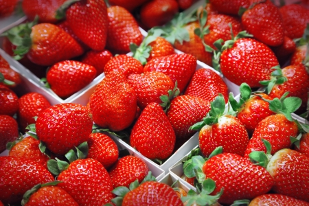 fruity salad: Bunch of fresh summer strawberries