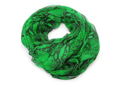 Green scarf isolated on white photo