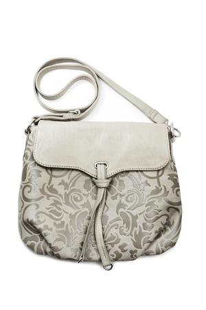 hobo: Gray handbag over white background Stock Photo
