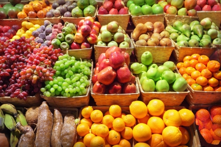 grocer: Fresh fruits at a market