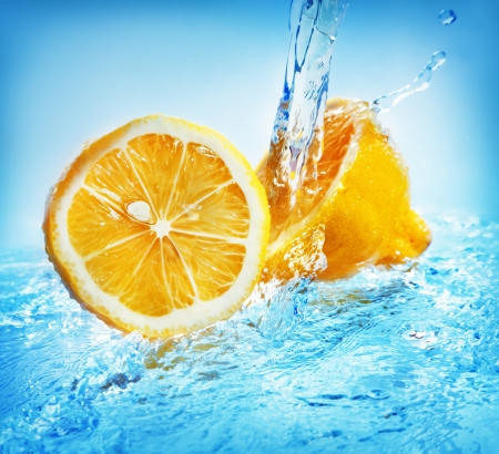 Water splash on lemon photo