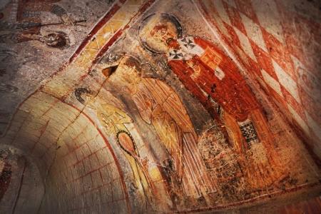 pintura rupestre: Fresco en la iglesia antigua. Capadocia, Turquía