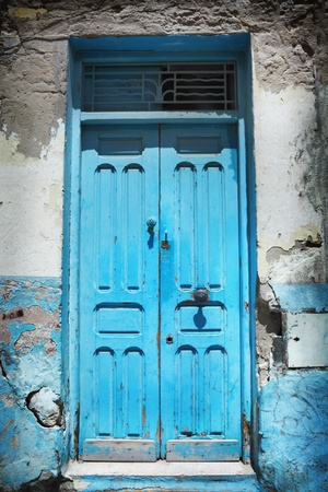 Old blue door made of wood photo