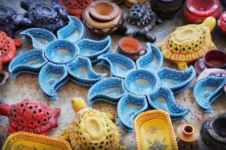 made in morocco: Earthenware in the market, Tunisia Stock Photo