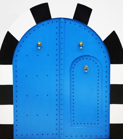 Blue wooden door in arabic style photo