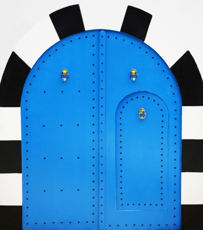 arabic architecture: Blue wooden door in arabic style Stock Photo