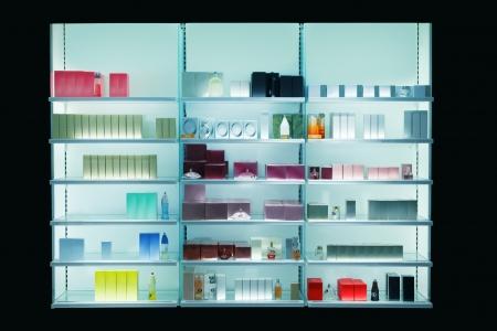 showcase: Perfume bottles at a market stall