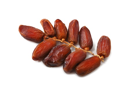 Date fruits on white background