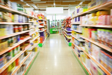 supermarket shopping: Various products in a supermarket Stock Photo