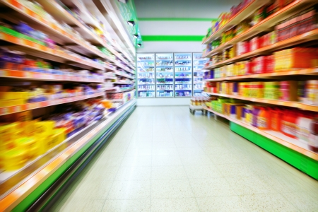 supermarket shelves: Various products in a supermarket Stock Photo