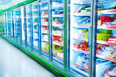 refrigerator: Various products in a supermarket Stock Photo