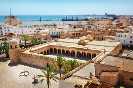 Aerial view on the Great Mosque in Sousse, Tunisia