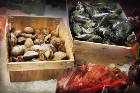 fishery products: Seafood in a fish market Stock Photo
